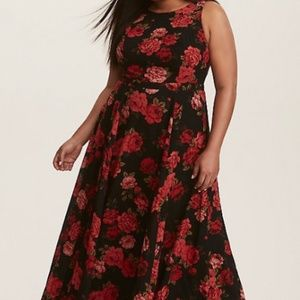 Black Floral Georgette Maxi Dress